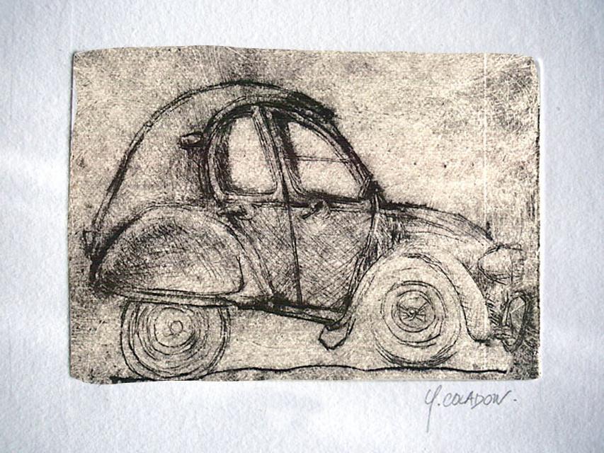 Yves Coladon artiste peintre et graveur. Gravures. La belle deuche. Boutique en ligne !