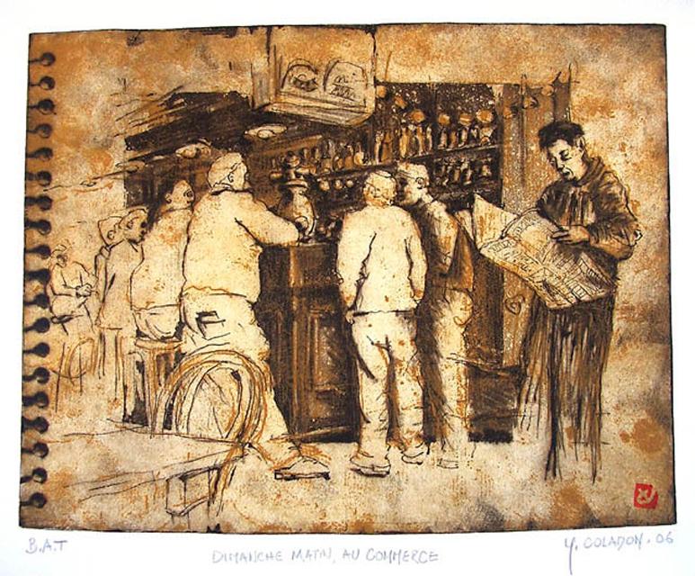 Yves Coladon artiste peintre et graveur. Gravure. Dimanches matin au Commerce. Boutique en ligne !