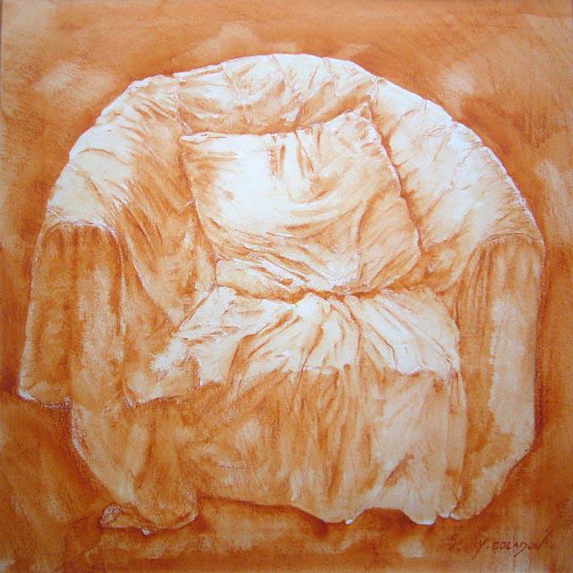 Yves Coladon artiste peintre et graveur. Fauteuil. Aquarelle.