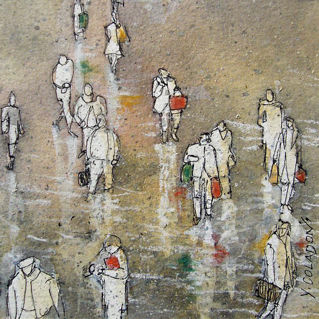 Yves Coladon artiste peintre et graveur. Foule. Encre et aquarelle.