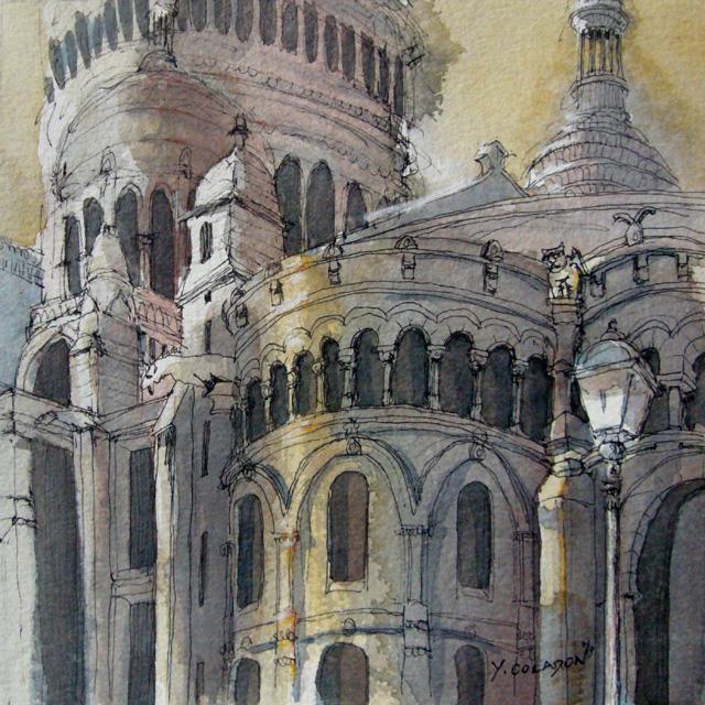 Yves Coladon artiste peintre et graveur. Montmartre, Paris. Encre et aquarelle.