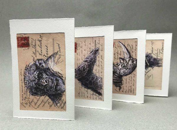 Yves Coladon artiste peintre et graveur. L'Arche de Noé, encre et aquarelle, sur dos de vielle carte postale
