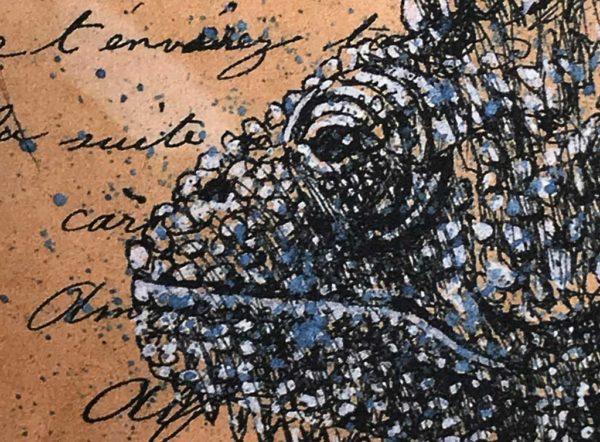 Yves Coladon artiste peintre et graveur. Caméléon, encre et aquarelle sur dos de vielle carte postale