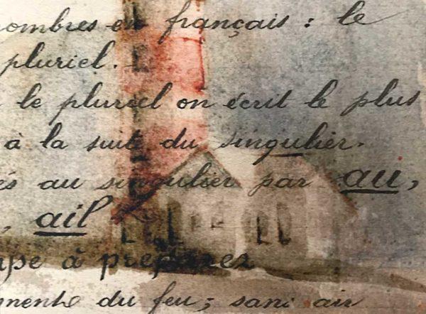 Yves Coladon artiste peintre et graveur. Coques de bois, Côtes d'Armor. Encre et aquarelle.