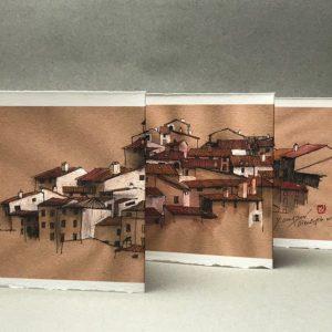 Yves Coladon artiste peintre et graveur. Le village de Dieulefit, les toits vus d'en face