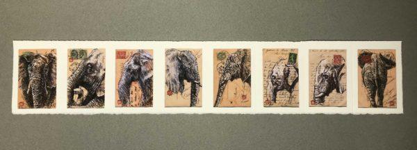 Yves Coladon artiste peintre et graveur. Éléphants. Aquarelle et encre.