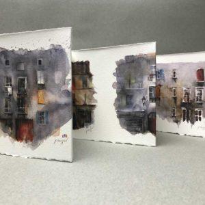 Yves Coladon artiste peintre et graveur. Fenêtres sur cour. Aquarelle et encre.