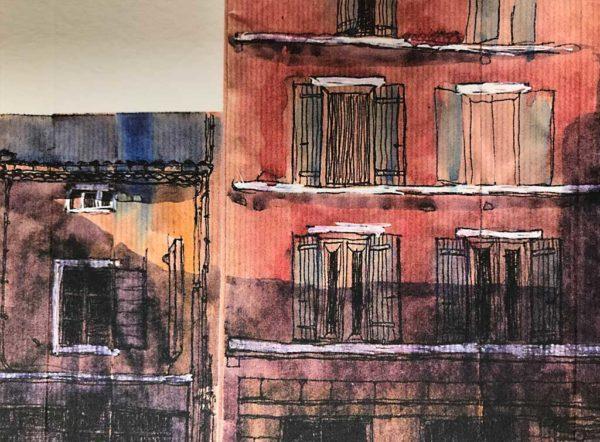 Yves Coladon artiste peintre et graveur. Dieulefit, la rue du Bourg. Aquarelle et encre.