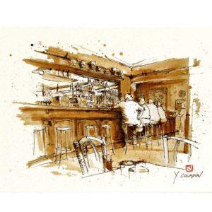 Carte postale. Café du Commerce, aquarelle, Yves Coladon artiste peintre graveur