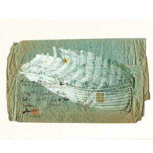 Carte postale. Coque de bois sur la plage, aquarelle, Yves Coladon artiste peintre graveur