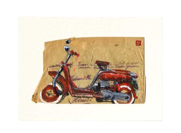 Carte postale. Moto, aquarelle, Yves Coladon artiste peintre graveur