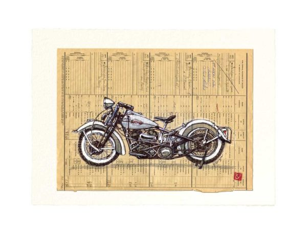 Carte postale. Harley Davidson, aquarelle, Yves Coladon artiste peintre graveur