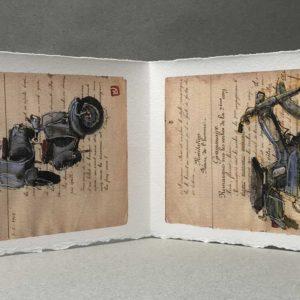 Yves Coladon artiste peintre et graveur. Mobylettes et scooters, nos années folles…. Encre et aquarelle.