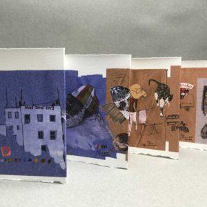 Yves Coladon artiste peintre et graveur. Tanger ou le petit Socco. Encre et aquarelle.