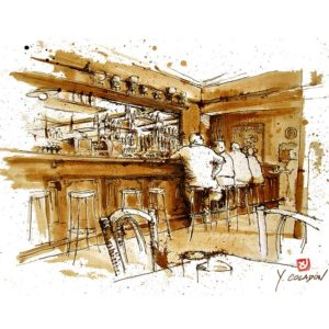 Café du Commerce, Yves Coladon artiste peintre graveur