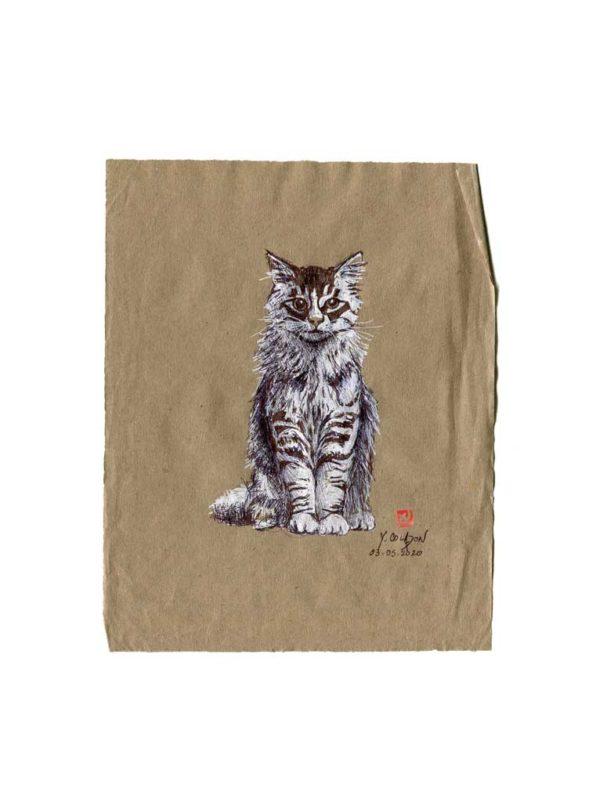Série des chats du Pérou, le chat N°1, Yves Coladon artiste peintre graveur