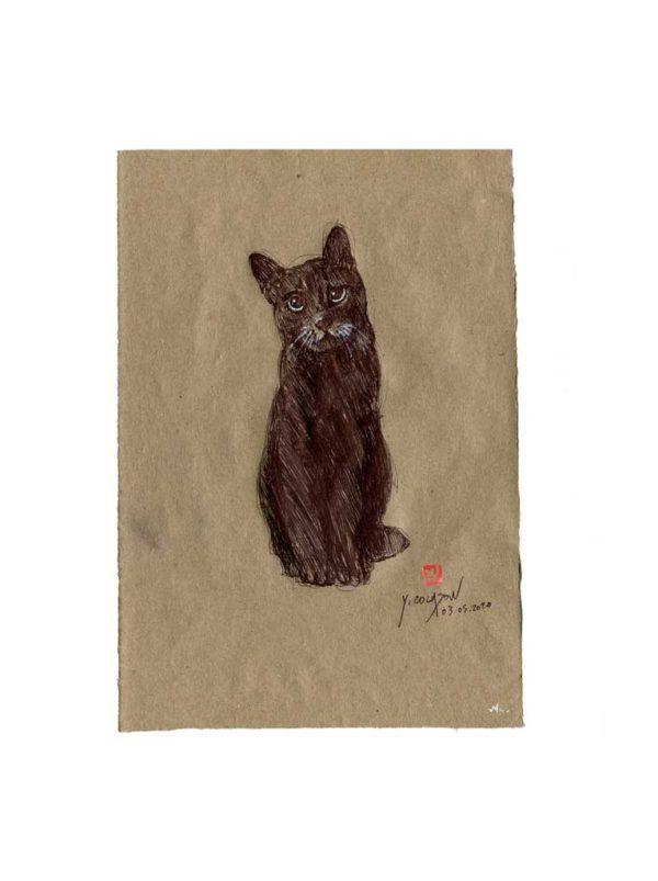 Série des chats du Pérou, le chat N°2, Yves Coladon artiste peintre graveur
