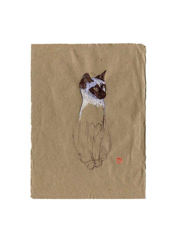 Série des chats du Pérou, le chat N°3, Yves Coladon artiste peintre graveur