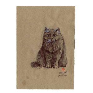 Série des chats du Pérou, le chat N°4, Yves Coladon artiste peintre graveur