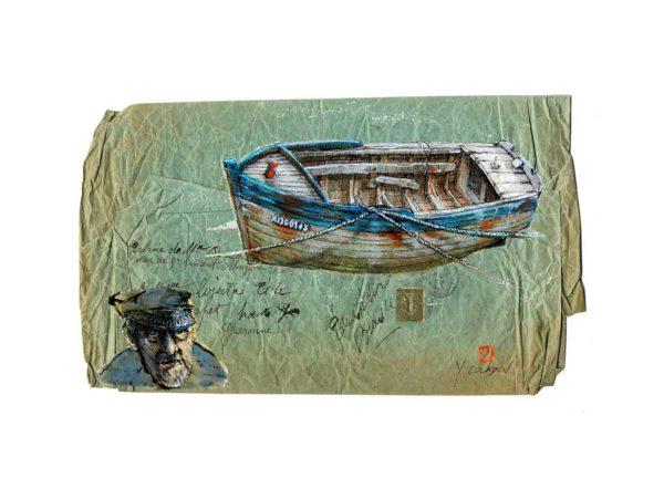 Coque de bois sur la plage, Yves Coladon artiste peintre graveur