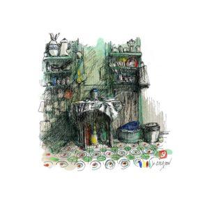 Cuisine, aquarelle, Yves Coladon artiste peintre graveur