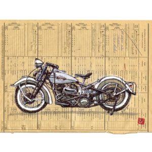 Harley Davidson, aquarelle, Yves Coladon artiste peintre graveur