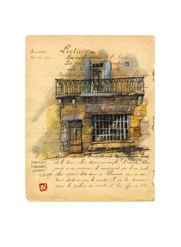 Maison de M. Martin ferronnier à Dieulefit, Yves Coladon artiste peintre graveur