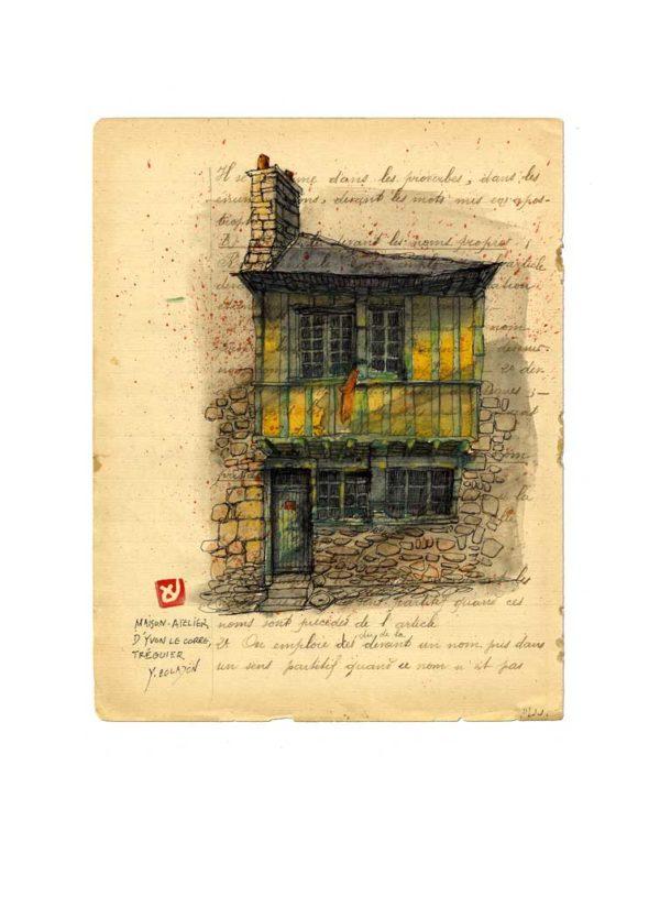 Maison de M. Yvon Le Corre à Tréguier, Yves Coladon artiste peintre graveur