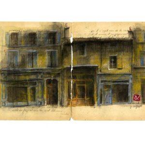 Rue du Bourg à Dieulefit, Yves Coladon artiste peintre graveur