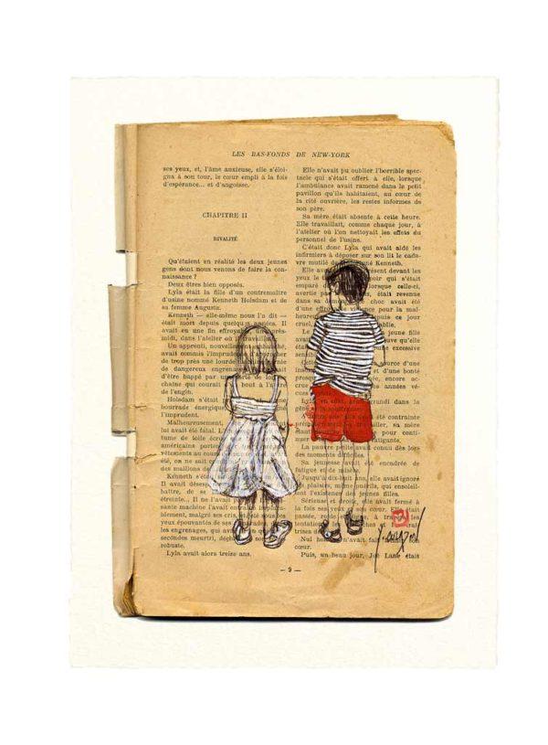 Carte postale. Bas-fonds, aquarelle, Yves Coladon artiste peintre graveur