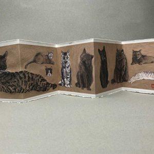 Yves Coladon artiste peintre et graveur. Chats du Pérou, encre et aquarelle.