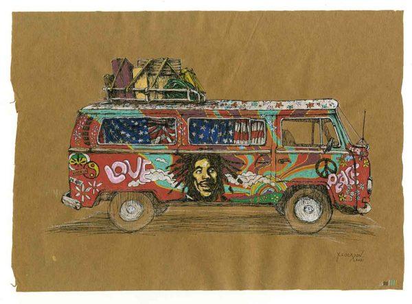 Combi-Hippie-Bob-Marley-Yves-Coladon-Artiste-Dieulefit